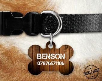 Personalised Pet Id Tag - Personalised Dog Tag - Custom Pet Id Tag - Wood Effect Dog Name Tag - Dog Id Tag - Dog Collar Name Tag