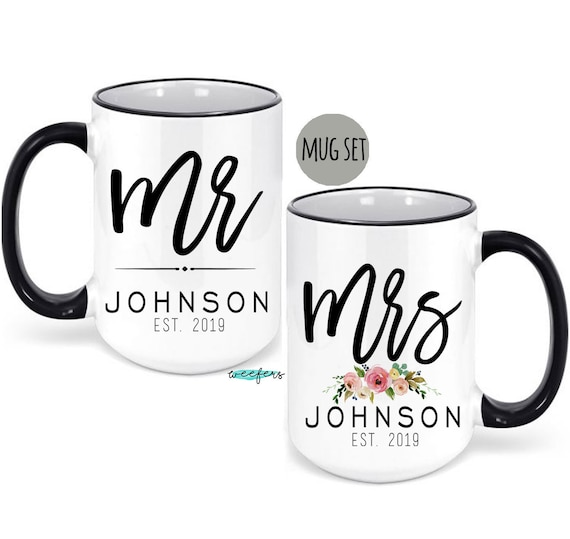 Wedding Gift Ideas For Bride And Groom.Mr And Mrs Mug Set Gift For Couple Bride And Groom