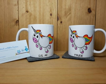 Unicorn 11oz mug with personalised children's name.