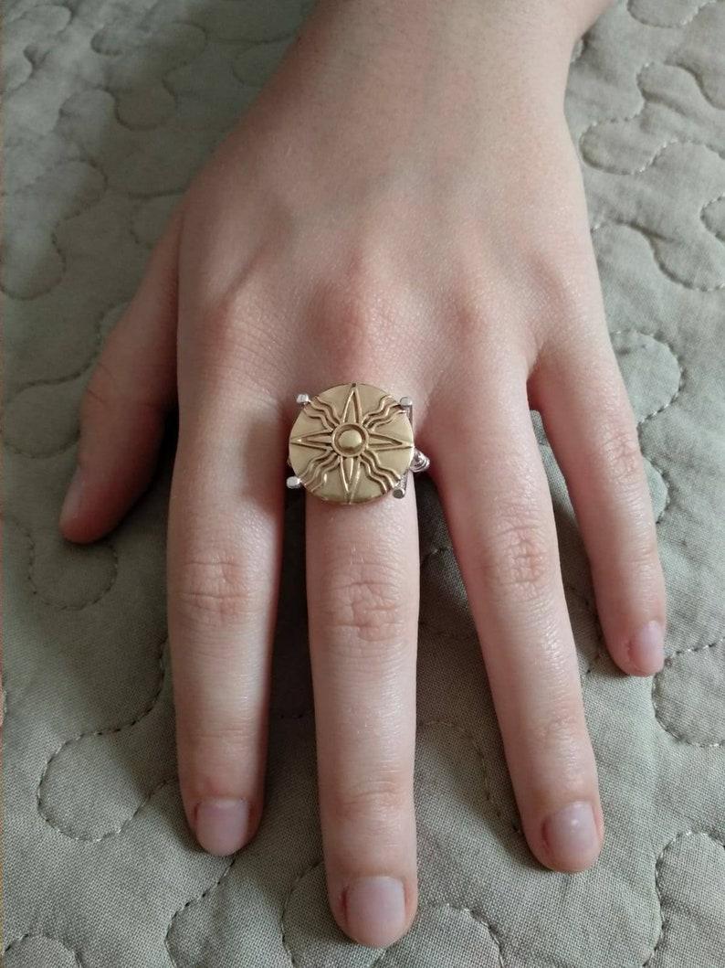 Ancient Ring Ring Shamash Anunnaki Mesopotamia Solar disk Sumerian silver  ring