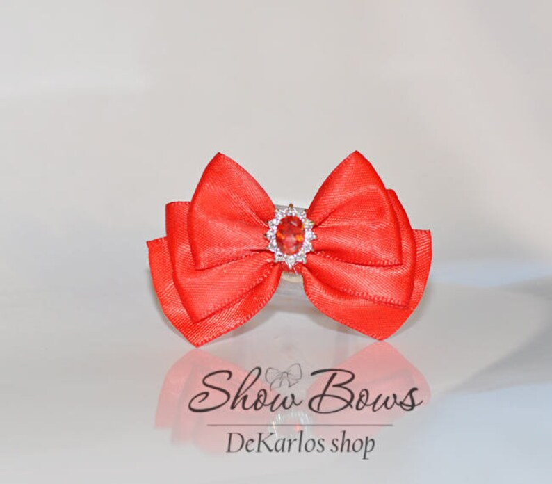 maltese show bow ties dog vintage dog bow Vintage show bow Zircon grooming bow per dog bow yorkie bow show bows for dogs