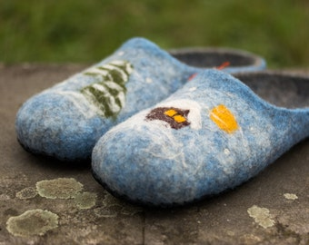 60th birthday gift ideas felted slippers Womens slippers felt slippers Mens slippers Womens Clogs wool slippers, housewarming gift