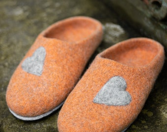 Felted wool slippers wooden clogs orange wool slipper with Leather soles