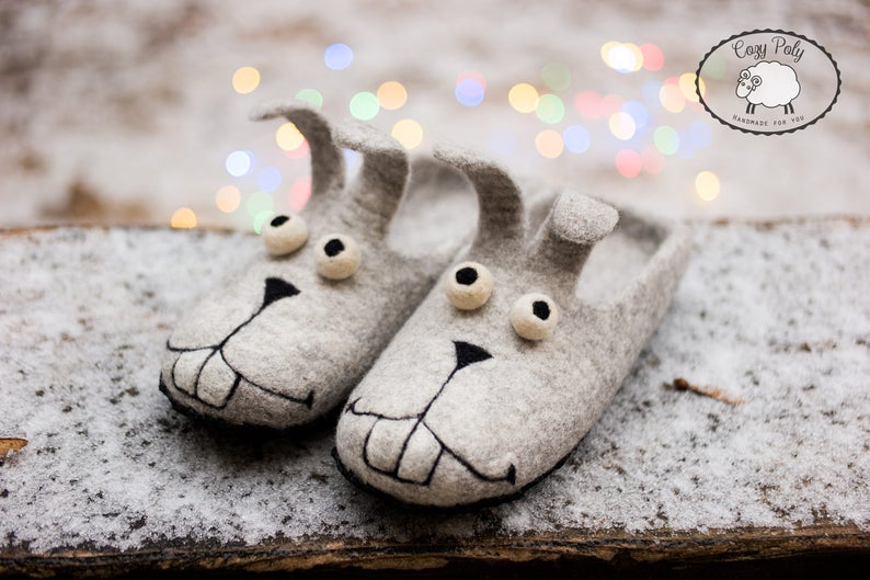 Cute bunny slippers women great felt wool christmas slippers image 0