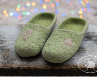 Mindfulness gift felted wool slippers green warm slippers for man
