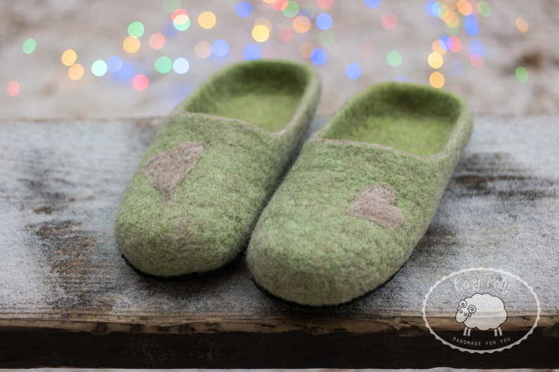Mindfulness gift felted wool slippers green warm slippers for image 0