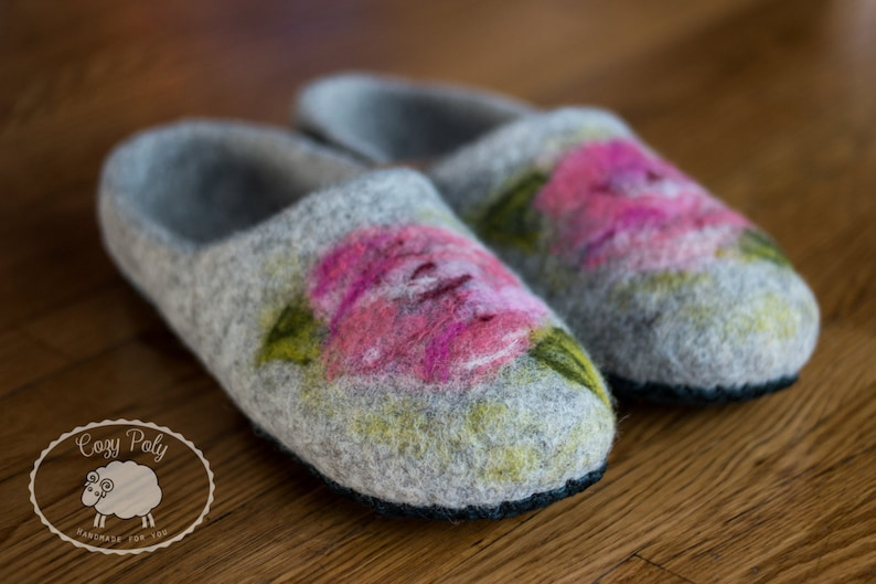 c9774e5327eae Grandparent gifts felted wool slippers 60th birthday Gift for mum wooden  clogs felt shoes