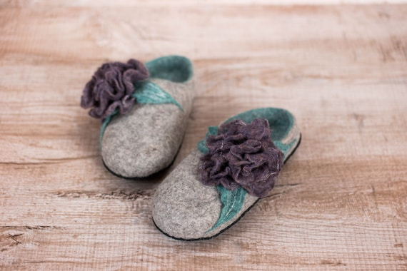 40th Birthday Gift Sister In Law Felted Wool Slippers Wooden Clogs With Flowers