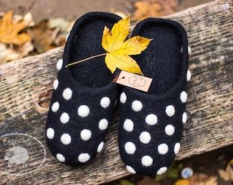 Sister gift for her Black felt slippers with White polka dot Wool Slippers  Felt house Slippers house shoes Warm slippers felted slippers