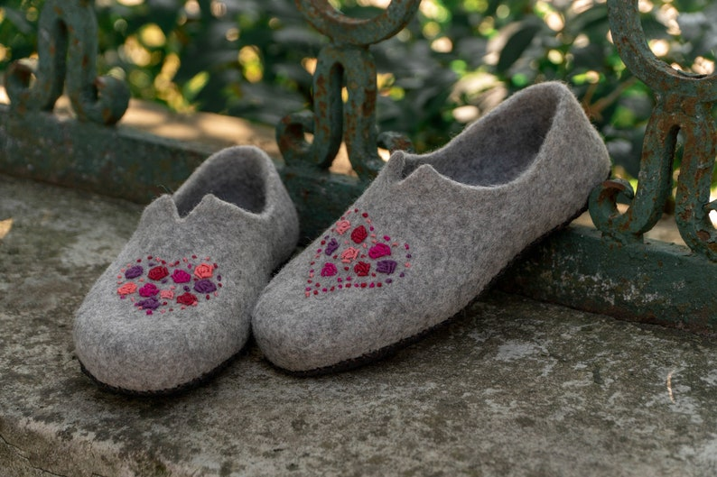 0b9b8fae7d134 Mindfulness gift for her wool slippers felted wool slippers with hearts