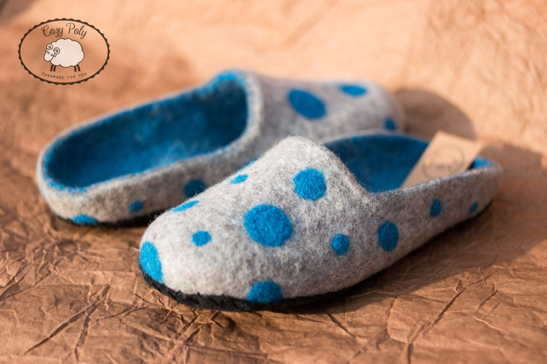 f893590ffc6d9 Warm Felted Wool slippers for women from organic grey wool with blue Polka  Dots indoor shoes