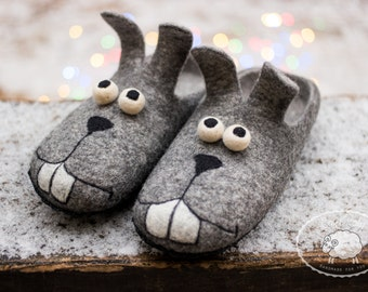 Felted wool Slippers funny grey bunny mens house shoes wooden clogs