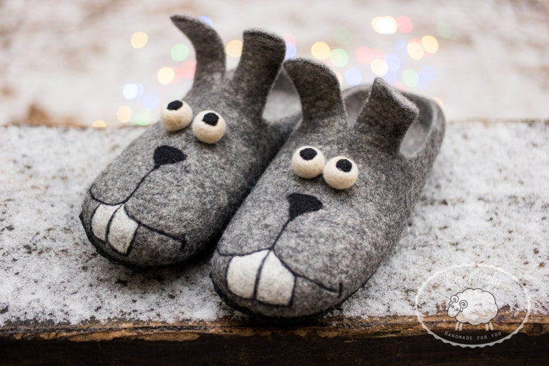 Felted wool Slippers funny grey bunny mens house shoes wooden image 0