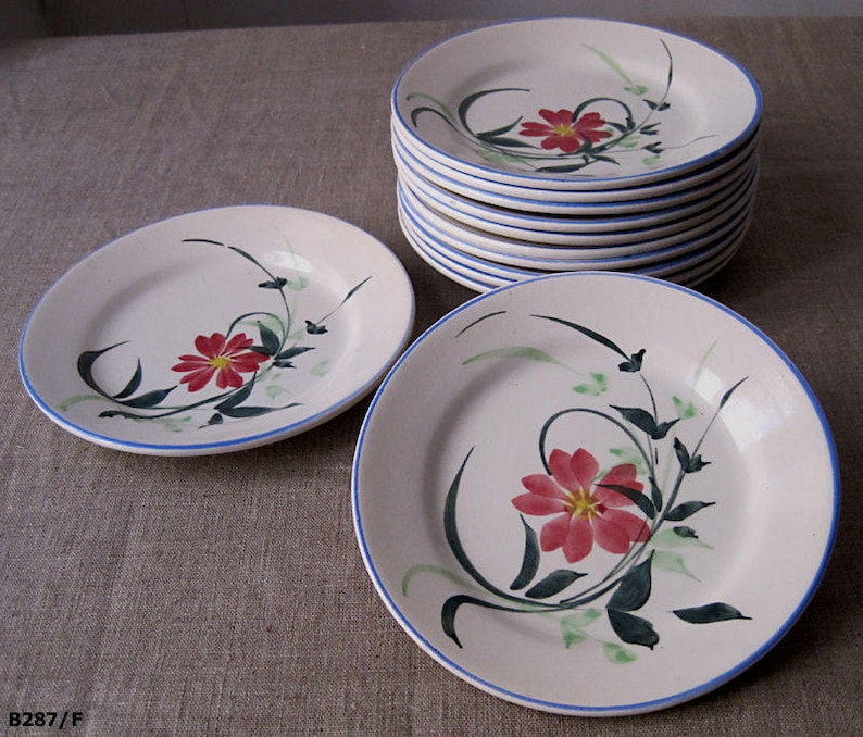 utensil Kitchen cottage.art of the holiday tables kitchen 12 hand-painted antique earthenware dessert plates