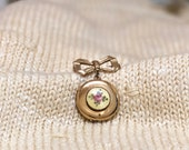 Vintage Locket Pin Pendant, Enamel Rose Locket Hangs from Gold Bow Brooch