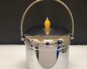 Vintage Farber Bros Ice Bucket, Krome Kraft, 2 Qt Pyrex ,Wrapped Handle, Butterscotch Bakelite Finial Knob, Mid Century Modern Barware