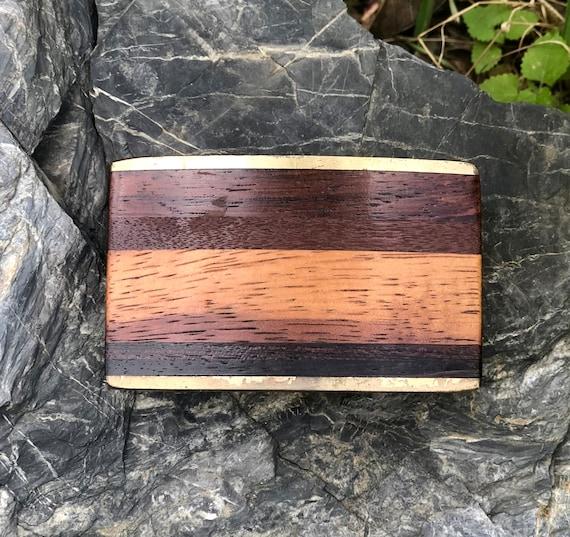 Boucle de ceinture bois laiton Vintage par Kenneth Reid Albuquerque Nouveau  Mexique fe0e161497d