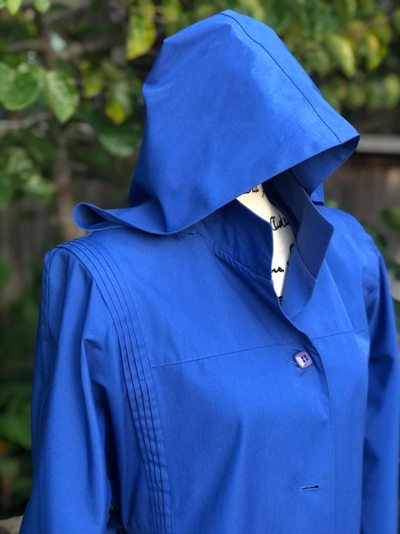 Vintage Periwinkle Blue Trench Coat, Hooded Jacket