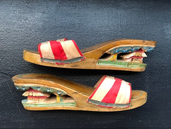 Vintage 1940s Carved Wooden Shoes, WWII Souvenir,