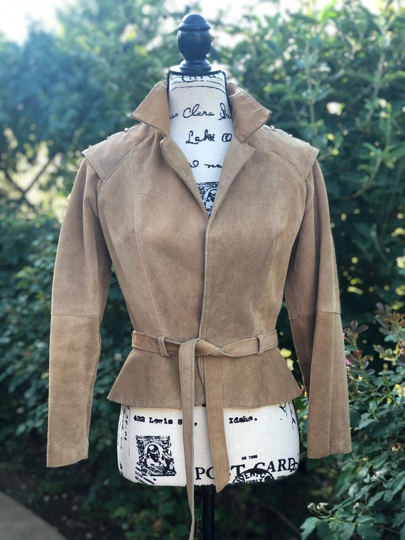 Vintage 1980s Cropped Suede Jacket, 40s Pin Up, St