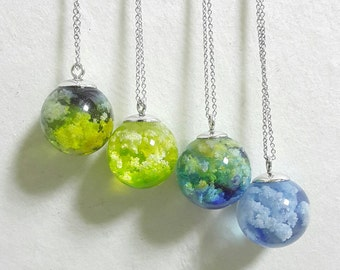 Cloud and Sky Resin ball necklace/resin pendant/ball pendant/blue/green