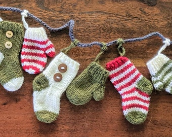 62ecb70f9d7 Mini stockings and mini mittens garland  6 mittens and 6 stockings