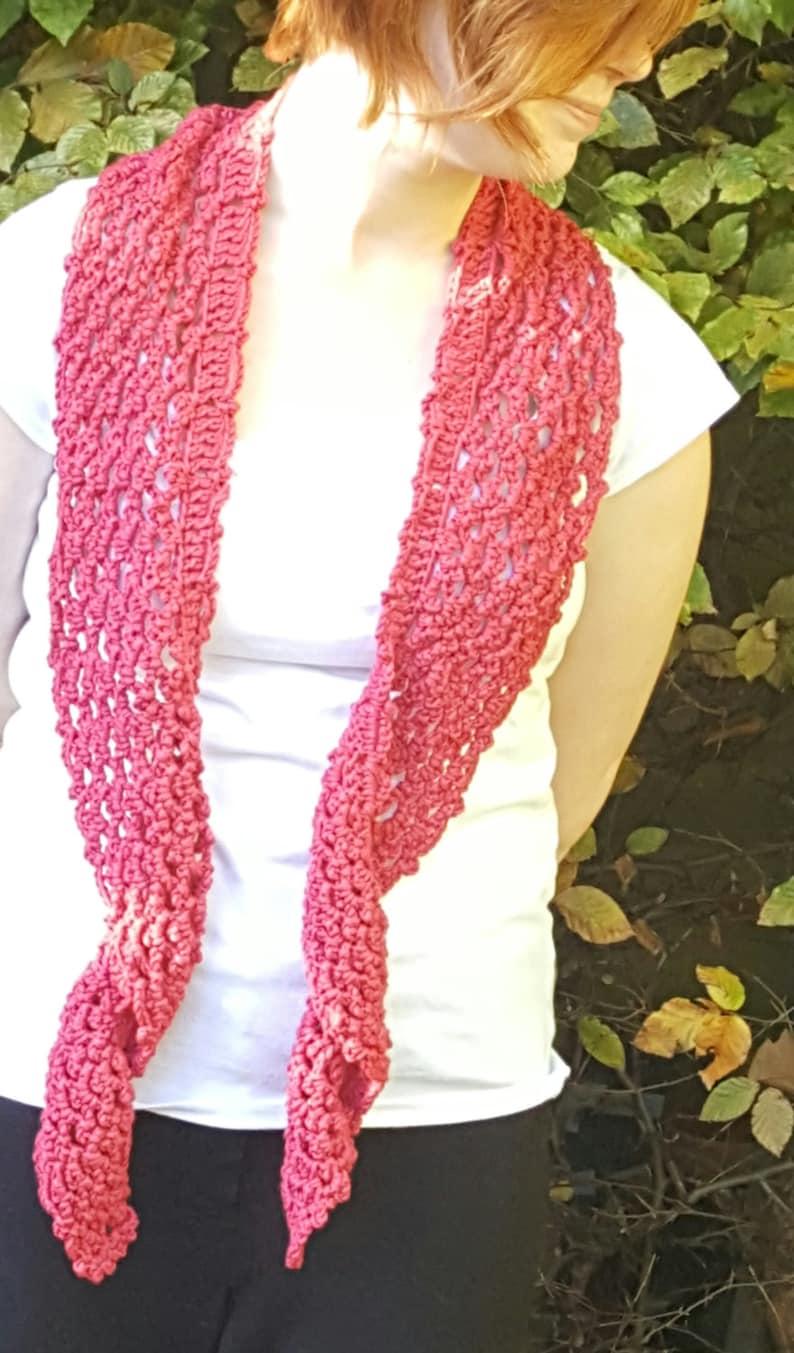Crochet Pattern Picot Twirl Scarf Uk Terms Etsy