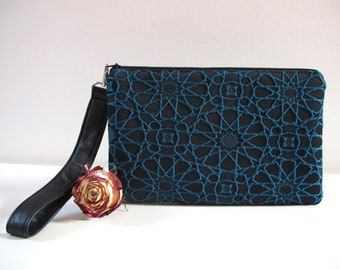 bb6de074b724 Black and turquoise ceremony clutch