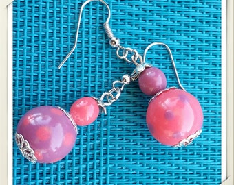 Handmade polymer and Silver-earrings polymer clay earrings