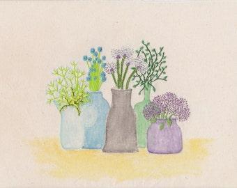 Still Life, Wall Art, Embroidery Art, Watercolours, Art Prints