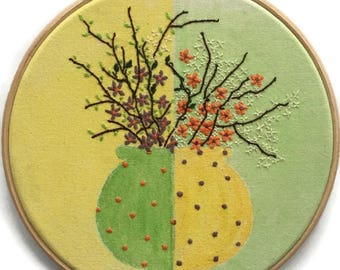 Yellow and Green, Embroidery Hoop,  Hand Embroidery, Floral Hoop, Hoop Art, Thread and Paint, Wall Decor