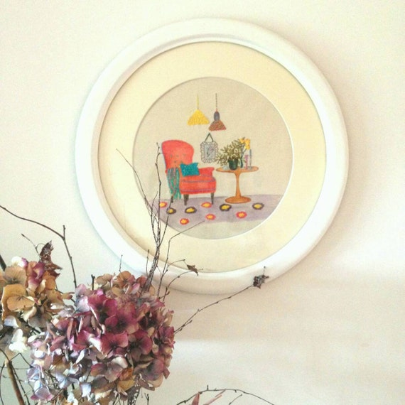The Orange Armchair Hand Embroidery Art Embroidery And Etsy