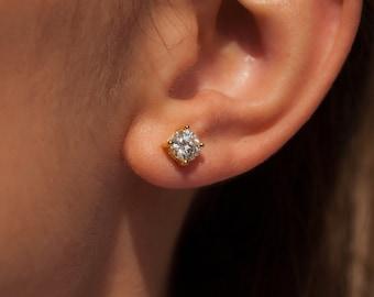 Certified  VVS1 Moissanite Gold Silver Solitaire Stud Screw-Push Backs Earrings, 3,4,5,6 mm Size, Brilliant Cut Moissanite Wedding Earrings