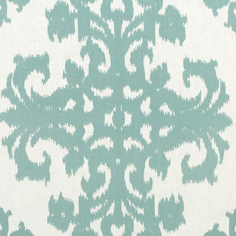 Linen Fabric By the yard Ikat Seafoam on Ivory