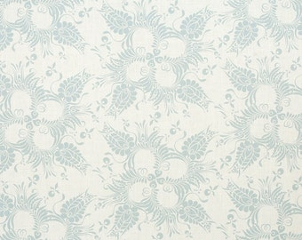 Linen Fabric By the yard Botanical Powder Blue on Ivory