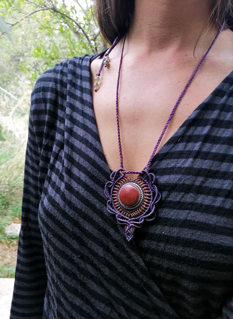 Red Jade Macrame Bohemian Pendant ~ Long Tribal Crystal  Necklace