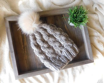 Chunky Cabled Knit Beanie | Chunky Handknit Hat | Knit Cabled Beanie | Knit Cabled Hat with Pom-pom