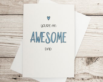 Fathers Day Card, Awesome Dad, Personalised Fathers Day Card, Awesome Dad Card, Happy Fathers Day, Cute Fathers Day Card, Card For Dad