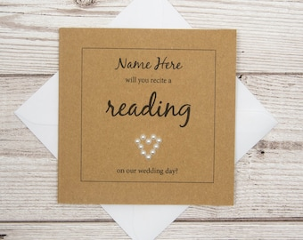 Wedding Reading Card, Will You Recite A Reading On Our Wedding Day?, Wedding Party Invite, Wedding Reader Card, Proposal Card Wedding Gift