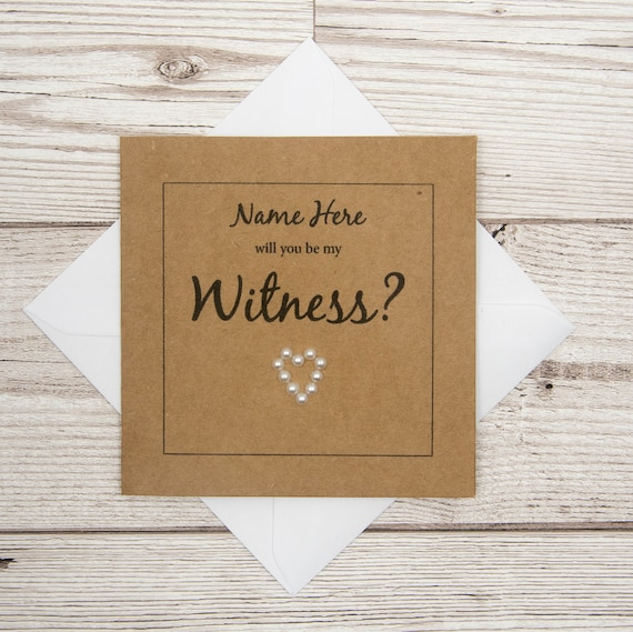Wedding Witness Gifts: Witness Wedding Card Will You Be My Witness Personalised