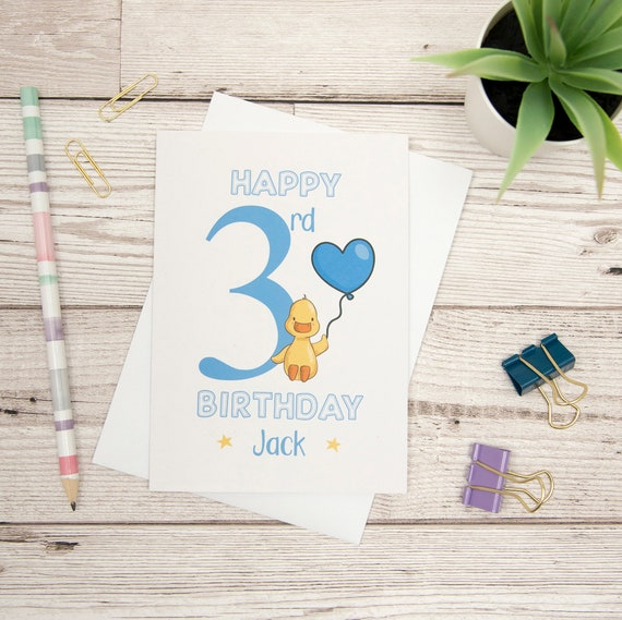 Happy 3rd Birthday Card Personalised Third Duck