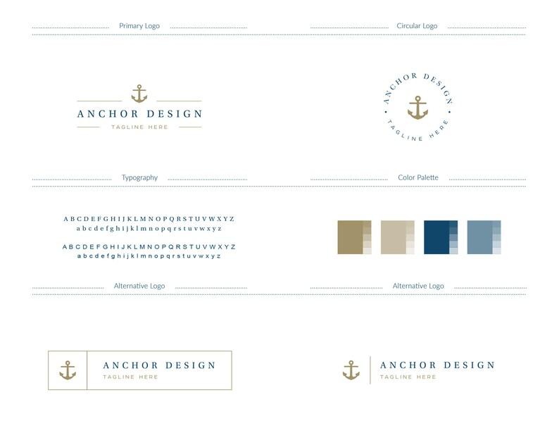 Anchor Logo Premade Anchor Branding Mini Branding Set Mini Etsy