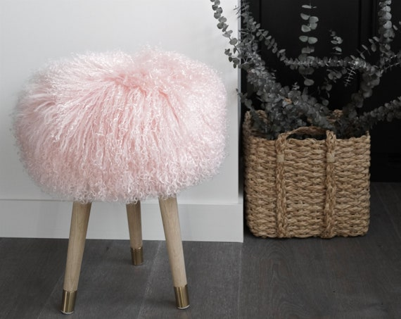 Pleasant Stool Fur Chair Rose Mongolian Lamb Fur Genuine Gmtry Best Dining Table And Chair Ideas Images Gmtryco