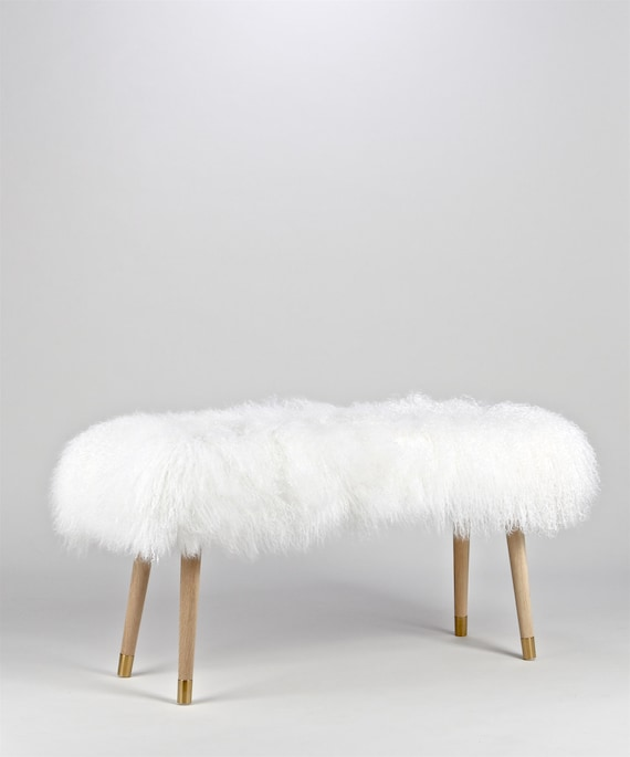 Incredible Fur Bench Ottoman 18 High White Mongolian Lamb Fur Genuine Squirreltailoven Fun Painted Chair Ideas Images Squirreltailovenorg