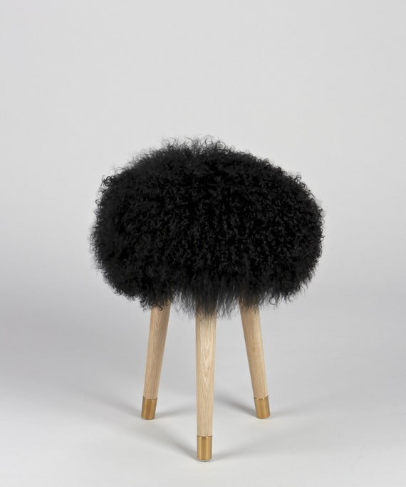 Stupendous Fur Vanity Stool Genuine Black Mongolian Lamb Fur Stool For Vanity Bathroom Bedroom Gmtry Best Dining Table And Chair Ideas Images Gmtryco