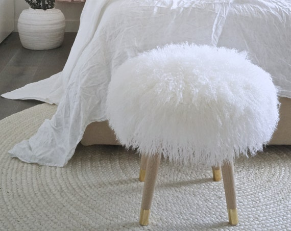 Astounding Fur Stool Vanity Large Chair White Mongolian Lamb Fur Genuine Machost Co Dining Chair Design Ideas Machostcouk
