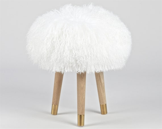 Pleasing Kids Baby Stool Fur Chair White Mongolian Lamb Fur Genuine For Vanity Nursery Bedroom Machost Co Dining Chair Design Ideas Machostcouk