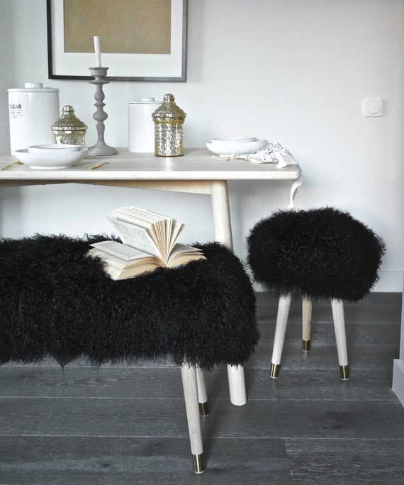 Awe Inspiring Fur Vanity Stool Genuine Black Mongolian Lamb Fur Stool For Vanity Bathroom Bedroom Gmtry Best Dining Table And Chair Ideas Images Gmtryco
