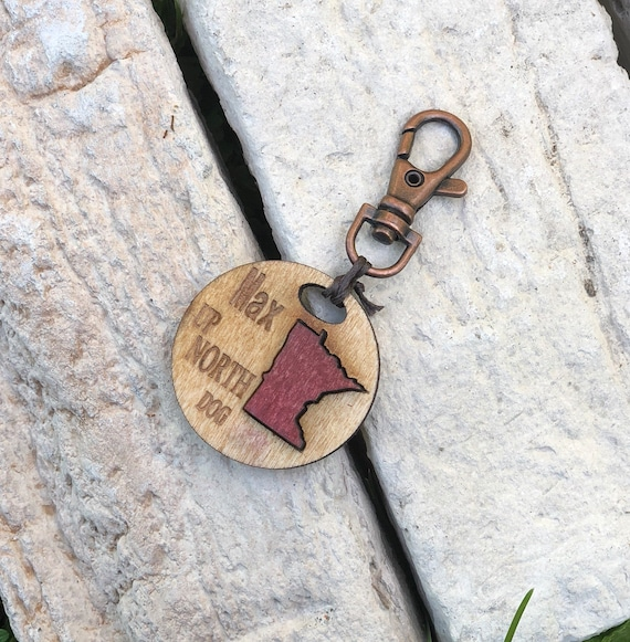 Minnesota State Dog Id Tag Choose Any State Pet Collar Keychain Charm MN  Keychain Dog Tag Dog Accessories Custom State Keychain