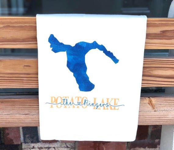 custom lake and name lake home kitchen towel personalized etsy